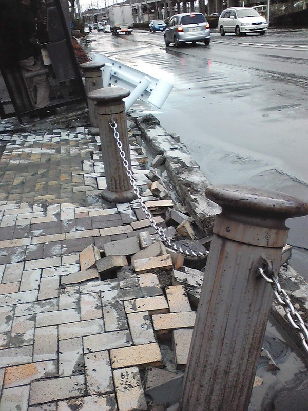 Pavement in Urayasu, Chiba destroyed due to soil liquefaction. There are still many roads like this that are yet to be fixed.